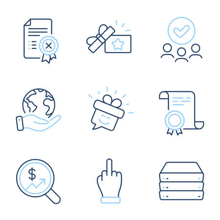 Currency audit, Loyalty gift and Smile line icons set. Diploma certificate, save planet, group of people. Middle finger, Servers and Reject certificate signs. Vector  イラスト・ベクター素材