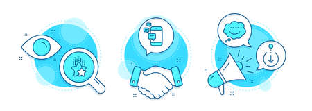 Communication, Ranking stars and Speech bubble line icons set. Handshake deal, research and promotion complex icons. Scroll down sign. Smartphone messages, Winner award, Comic chat. Vector