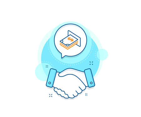 Banking currency sign. Handshake deal complex icon. Cash money line icon. Dollar or USD symbol. Agreement shaking hands banner. ATM money sign. Vector