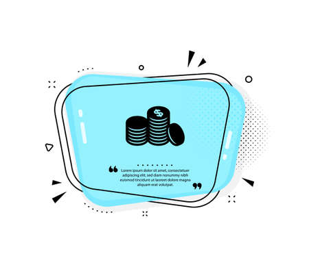 Coins money icon. Quote speech bubble. Banking currency sign. Cash symbol. Quotation marks. Classic banking money icon. Vector