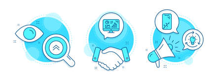 Swipe up, Smartphone broken and Idea line icons set. Handshake deal, research and promotion complex icons. Analytics graph sign. Scroll screen, Phone crash, Lightbulb. Growth report. Vector