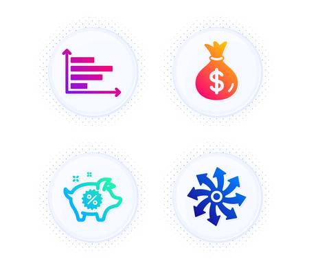 Piggy sale, Horizontal chart and Money bag icons simple set. Button with halftone dots. Versatile sign. Discounts, Presentation graph, Usd currency. Multifunction. Finance set. Vector  イラスト・ベクター素材