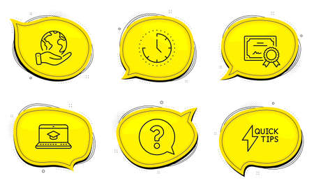 Quickstart guide sign. Diploma certificate, save planet chat bubbles. Time, Question mark and Website education line icons set. Clock, Help support, Video learning. Lightning symbol. Vector Ilustracja