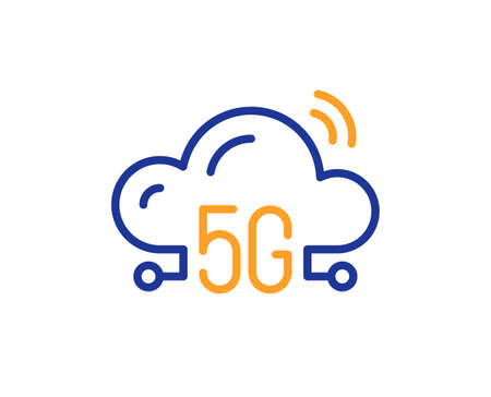 5g cloud computing line icon. Wireless technology sign. Mobile wifi internet symbol. Colorful thin line outline concept. Linear style 5g cloud icon. Editable stroke. Vector