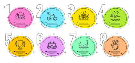 Honor, Winner and Scuba diving signs. Timeline steps infographic. Swimming pool, Sports arena and Arena stadium line icons set. Bicycle parking symbol. Basin, Event stadium. Sports set. Vector