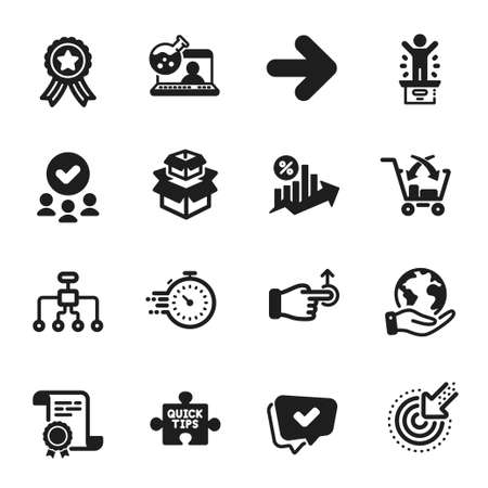 Set of Technology icons, such as Quick tips, Winner podium. Certificate, approved group, save planet. Loan percent, Cross sell, Online chemistry. Approved, Restructuring, Packing boxes. Vector