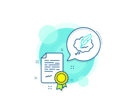 Feather sign. Certification complex icon. Copywriting speech bubble line icon. Copyright symbol. Certificate or diploma document. Copyright chat sign. Vector