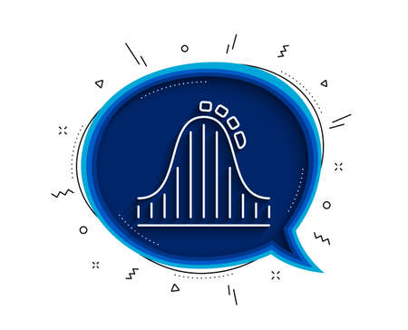 Roller coaster line icon. Chat bubble with shadow. Amusement park sign. Carousels symbol. Thin line roller coaster icon. Vector