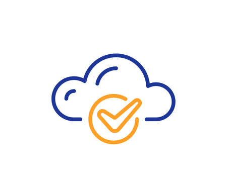 Approved cloud computing line icon. Internet data storage sign. File hosting technology symbol. Colorful thin line outline concept. Linear style cloud computing icon. Editable stroke. Vector