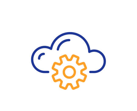 Cloud computing process line icon. Internet data storage sign. File hosting technology symbol. Colorful thin line outline concept. Linear style cloud computing icon. Editable stroke. Vector