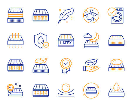 Mattress line icons. Breathable, washable, latex. Memory foam, pillow, bed tick icons. Light weight, natural material, pocket sprung mattress. Bed mite, antiallergic latex. Vector