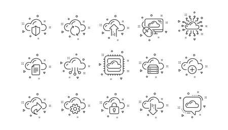 Hosting, Computing data and File storage. Cloud data and technology icons. Computer sync linear icon set. Geometric elements. Quality signs set. Vector