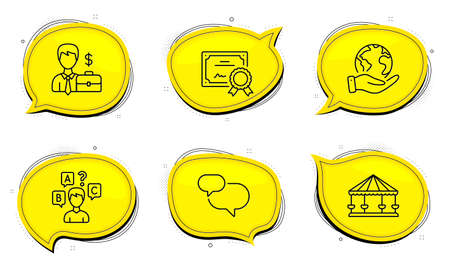 Businessman case sign. Diploma certificate, save planet chat bubbles. Chat message, Carousels and Quiz test line icons set. Speech bubble, Attraction park, Interview. Human resources. Vector
