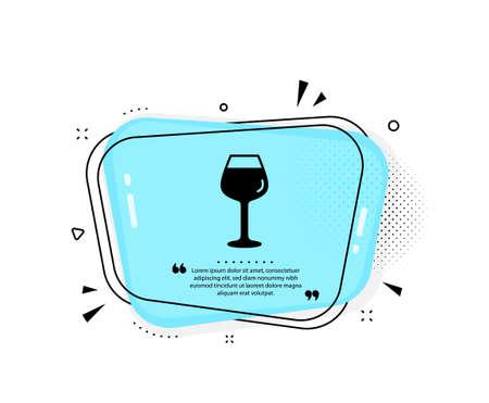 Wine glass icon. Quote speech bubble. Bordeaux glass sign. Quotation marks. Classic bordeaux glass icon. Vector 向量圖像