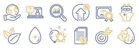 Set of Business icons, such as Target, Organic product. Certificate, save planet. Oil serum, Data analysis, Financial documents. Faq, Balloon dart, Ship. Recycle water, Loan percent line icons. Vector