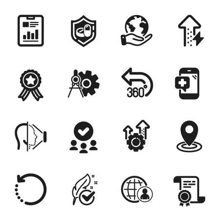Set of Science icons, such as Location, Energy growing. Certificate, approved group, save planet. International recruitment, Report document, 360 degrees. Vector