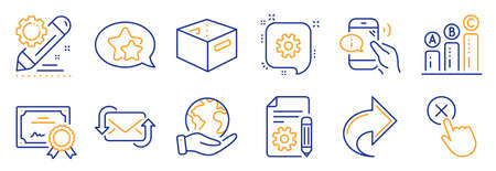 Set of Technology icons, such as Documentation, Refresh mail. Certificate, save planet. Star, Call center, Office box. Graph chart, Cogwheel, Share. Reject click, Project edit line icons. Vector
