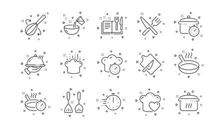 Boiling time, Frying pan and Kitchen utensils. Cooking line icons. Fork, spoon and knife line icons. Recipe book, chef hat and cutting board. Linear set. Geometric elements. Quality signs set. Vector 向量圖像