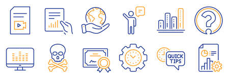 Set of Education icons, such as Agent, Chemical hazard. Certificate, save planet. Video file, Question mark, Time management. Report, Graph chart, Quick tips. Document, Music making line icons. Vector Ilustracja
