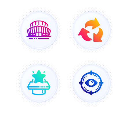 Sports stadium, Recycle and Winner podium icons simple set. Button with halftone dots. Eye target sign. Championship arena, Recycling waste, First place. Optometry. Business set. Vector