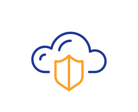 Cloud computing protection line icon. Internet data storage sign. File hosting technology symbol. Colorful thin line outline concept. Linear style cloud protection icon. Editable stroke. Vector Vectores