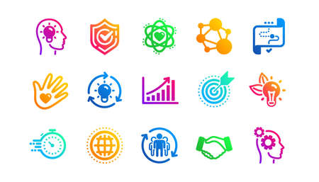 Integrity, Target purpose and Strategy. Core values icons. Helping hand, social responsibility, commitment goal icons. Classic set. Gradient patterns. Quality signs set. Vector