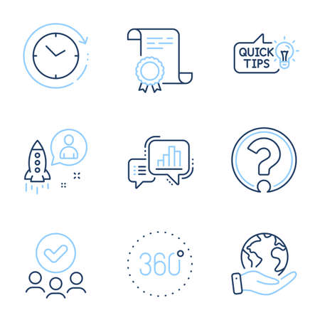 Education idea, Startup and Question mark line icons set. Diploma certificate, save planet, group of people. Time change, Graph chart and 360 degrees signs. Quick tips, Developer, Ask support. Vector