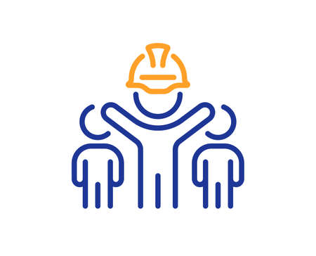 Engineering team line icon. Engineer or architect group sign. Construction helmet symbol. Colorful thin line outline concept. Linear style engineering team icon. Editable stroke. Vector