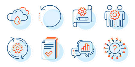 Rainy weather, Recovery data and Graph chart signs. Employees teamwork, Cogwheel blueprint and Handout line icons set. Cogwheel, Question mark symbols. Collaboration, Edit settings. Vector