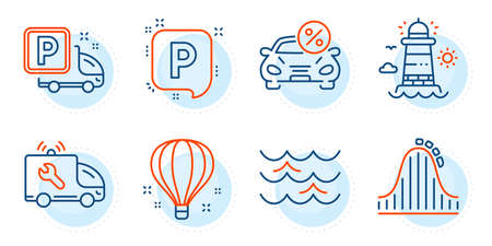 Car leasing, Truck parking and Roller coaster signs. Car service, Lighthouse and Waves line icons set. Parking, Air balloon symbols. Repair service, Beacon tower. Transportation set. Vector Vectores