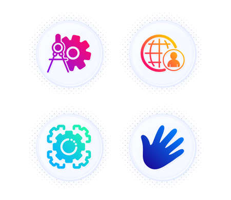 Seo gear, International recruitment and Cogwheel dividers icons simple set. Button with halftone dots. Hand sign. Cogwheel, World business, Settings. Swipe. Business set. Vector