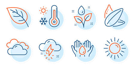 Thunderstorm weather, Safe water and Plants watering signs. Leaf, Cloudy weather and Sunflower seed line icons set. Sun symbol. Environmental, Sky climate. Nature set. Outline icons set. Vector 向量圖像