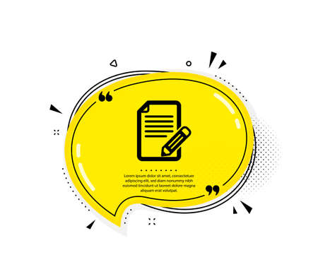 Feedback icon. Quote speech bubble. Page with pencil sign. Copywriting symbol. Quotation marks. Classic article icon. Vector Ilustracja