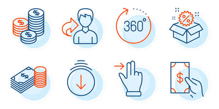 Share, Coins and Savings signs. Scroll down, Touchscreen gesture and 360 degrees line icons set. Sale, Receive money symbols. Swipe screen, Slide right. Business set. Outline icons set. Vector
