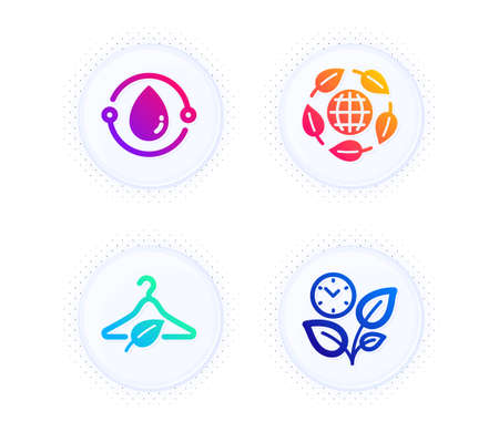 Slow fashion, Eco organic and Cold-pressed oil icons simple set. Button with halftone dots. Leaves sign. Eco tested, Bio ingredients, Organic tested. Grow plant. Nature set. Vector