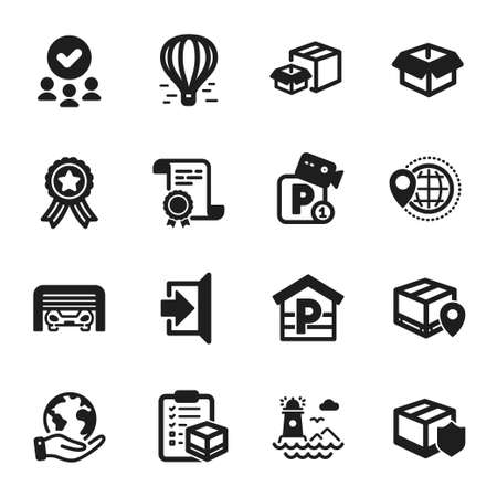 Set of Transportation icons, such as Air balloon, Delivery insurance. Certificate, approved group, save planet. Exit, Parcel tracking, Lighthouse. Opened box, Parking garage, Packing boxes. Vector