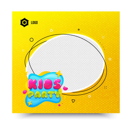 Kids party icon. Yellow banner template. Fun playing zone banner. Children games party area icon. Social media banner with chat bubble. Online shopping web template. Vector Stock Vector - 150287711