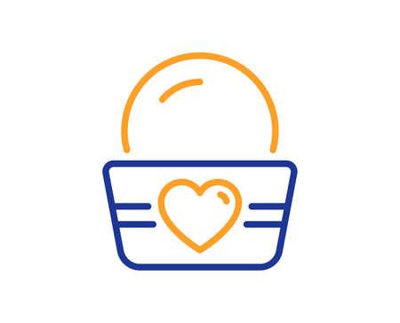 Ice cream cup line icon. Vanilla sundae sign. Frozen summer dessert symbol. Colorful thin line outline concept. Linear style ice cream icon. Editable stroke. Vector