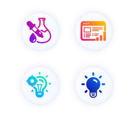 Web report, Seo idea and Chemistry experiment icons simple set. Button with halftone dots. Light bulb sign. Graph chart, Performance, Laboratory flask. Lamp energy. Science set. Vector 向量圖像