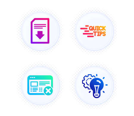 Reject web, Download file and Education icons simple set. Button with halftone dots. Idea gear sign. No internet, Load document, Quick tips. Technology process. Technology set. Vector