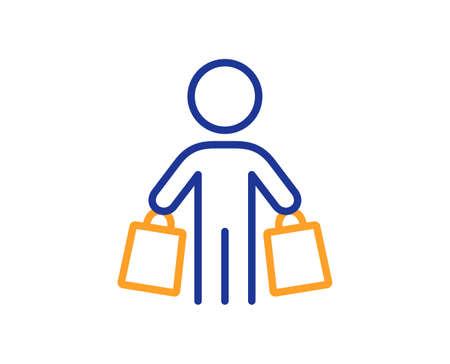 Buyer with shopping bags line icon. Customer sign. Supermarket client symbol. Colorful thin line outline concept. Linear style buyer icon. Editable stroke. Vector