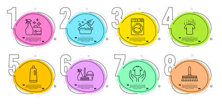 Cleaning mop, Shampoo and Washing machine signs. Timeline steps infographic. Hold t-shirt, Hand washing and Cleanser spray line icons set. Dry t-shirt, Household service symbols. Vector Vectores
