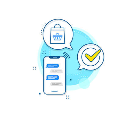 Supermarket buying sign. Phone messages complex icon. Shopping bag with cart line icon. Sale symbol. Messenger chat screen banner. Online buying sign. Vector