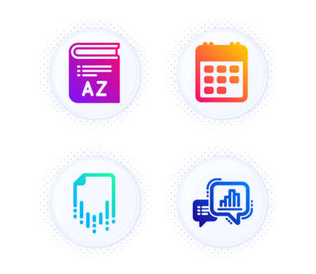 Vocabulary, Calendar and Recovery file icons simple set. Button with halftone dots. Graph chart sign. Book, Event reminder, Backup document. Growth report. Education set. Vector