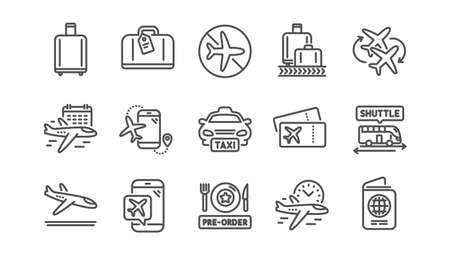Airport line icons set. Boarding pass, Baggage claim, Arrival. Connecting flight, tickets, pre-order food icons. Passport control, airport baggage carousel, flight mode. Linear set. Vector Illustration