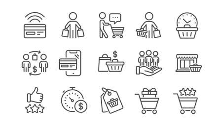 Buyer customer line icons set. Shopping cart , contactless payment and group of people. Store, buyer loyalty card, client ranking set icons. Shopping timer, phone payment, currency. Linear set. Vector Illusztráció