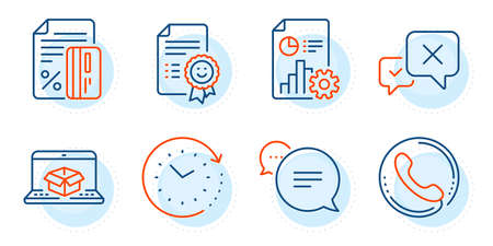 Reject, Call center and Smile signs. Time change, Report and Credit card line icons set. Online delivery, Text message symbols. Clock, Presentation document. Technology set. Outline icons set. Vector