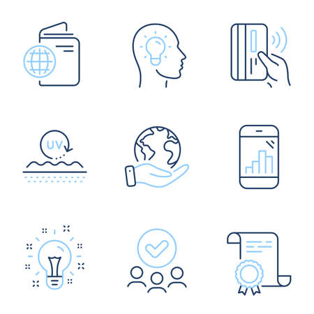 Idea head, Uv protection and Idea line icons set. Diploma certificate, save planet, group of people. Graph phone, Contactless payment and Travel passport signs. Vector