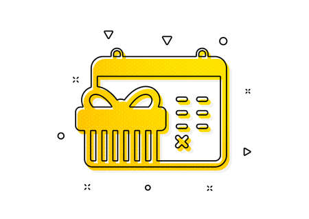 New year presents day sign. Christmas calendar icon. Surprise symbol. Yellow circles pattern. Classic christmas calendar icon. Geometric elements. Vector Vectores