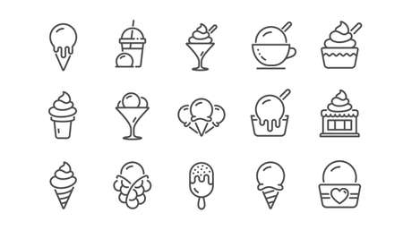 Ice cream line icons set. Bubble waffle, vanilla sundae, frozen yogurt. Sweet dessert food, milkshake with ice cream, sundae icons. Smoothie drink, frozen coffee, sorbet wafer. Linear set. Vector